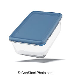 Plastic container for food isolated on a white background