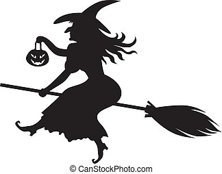 Witch on a broom - Silhouette of Halloween witch with a...