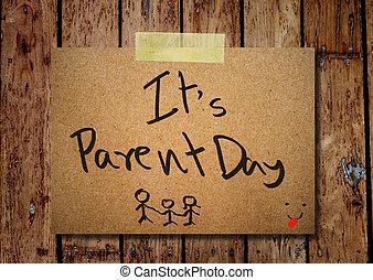 父母, 木制, 筆記, 紙, 背景, 天, 愉快
