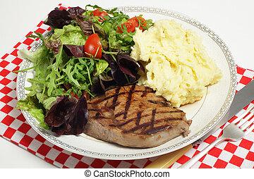 Ribeye, filete, ensalada, celeriac, papas