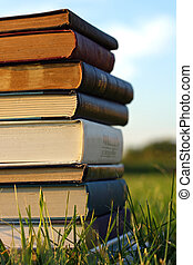 Stack of Old Books Outside - a stack of several thick old...