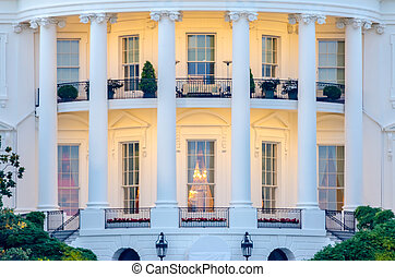 The White House in Washington DC - Detail of The White House...