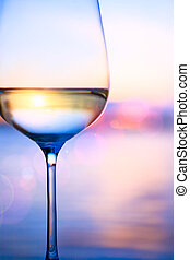 Art white wine on the summer sea background - white wine on...