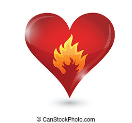 passion burning heart and fire illustration design over...