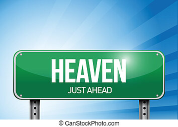 heaven road sign illustration design over a sky background