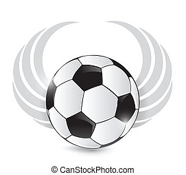 soccer ball with wings. illustration design over white