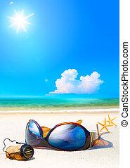 Art romantic sea beach. Women's Glasses and Champagne cork...