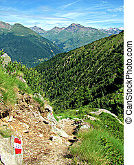Italian Alps - Mountain path - Walking on a mountain path,...