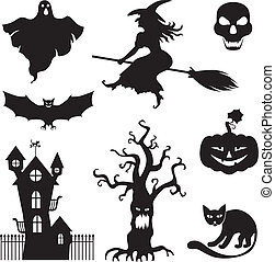 Halloween set - Set of silhouette horror images of a...