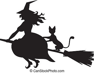 Witch on a broom and cat - Silhouette of Halloween witch...