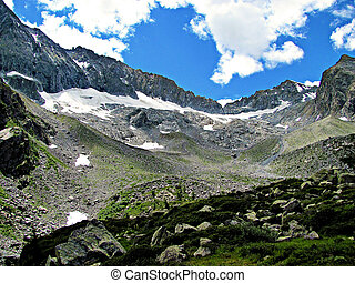 Italian Alps - rocks and ice valley - A valley of rocks and...