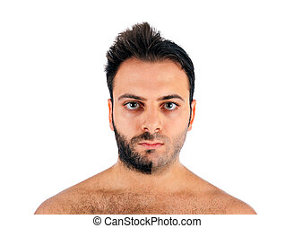 A young man with a beard on half of the face