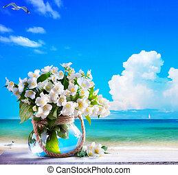 art seascape and jasmine flowers