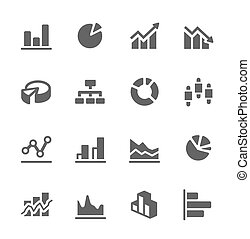 Graph and diagram icon set - Simple set of diagram and...