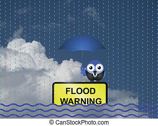Flood warning - Comical flood warning sign against a cloudy...