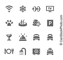 Hotel features icon set - Simple icon set include main hotel...