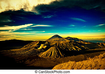 Bromo mountain under cloudy sky - taken at Bromo Mountain,...