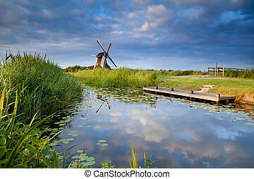 windmill and blue sky reflected in small lake with water...