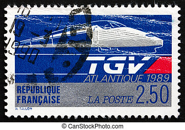 Postage stamp France 1989 TGV Atlantic, High-speed Train -...