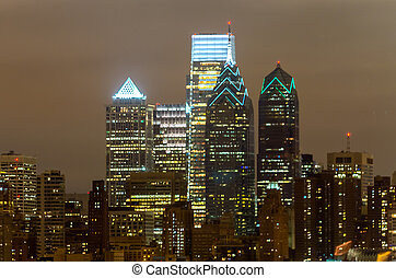 Philadelphia Skyline at Night, as seen from the Stadium...