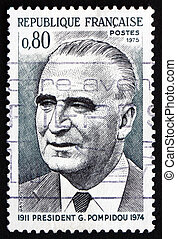 Postage stamp France 1975 Georges Pompidou, French President...