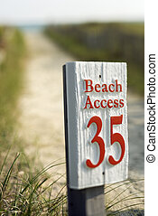 Beach access sign. - Beach access walkway and sign on Bald...