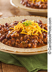 Spicy Homemade Chili Con Carne Soup in a Bowl