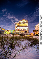beach hotel at night - night scenes at the florida beach...