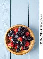 verano, fruta, tazón, sobre