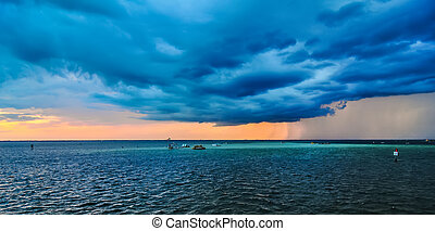 stormy weather over florida with thunder and lightning
