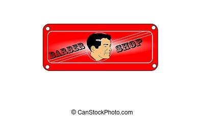 barber shop sign - retro style barber shop sign for men