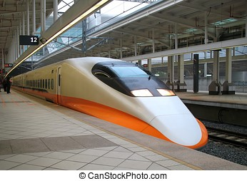 Modern High Speed Train - The engine of a modern express...