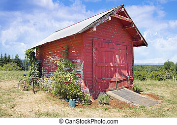 Old Tool Shed Red Barn