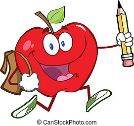 Happy Red Apple With School Bag - Happy Red Apple Character...