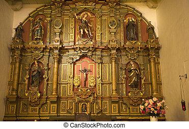 Chapel Altar Details Statues Christ Mission Dolores Saint...