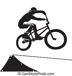 Extreme Biker Silhouette - High contrast silhouette of an...