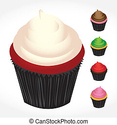 Cupcakes Variety - Set of gourmet bakery cupcakes in various...