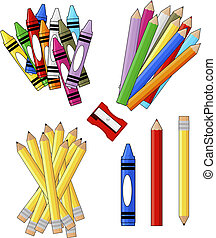 school supplies groups clip art isolated on white...