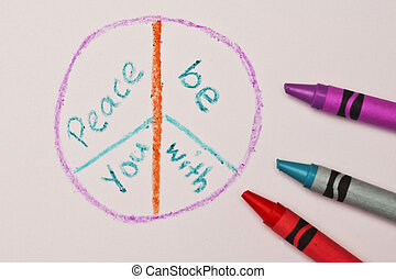 Peace Be With You - A crayon illustration of the peace sign