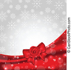 Festive background with gift bow and rose - Illustration...