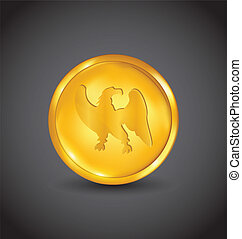 Golden coin with eagle isolated on black background
