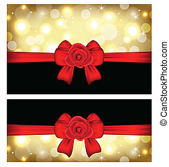 Christmas glossy cards with gift bows and roses -...