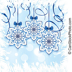 Christmas snowflakes with bow, winter decoration