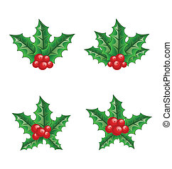 Christmas set holly berry branches isolated on white...