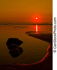 Twilight at the Beach - Seaside beach on the Oregon Coast at...