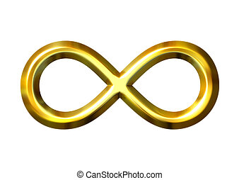 3D, dorado, infinito, símbolo