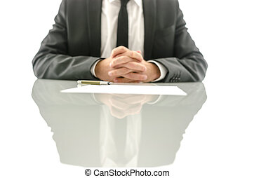 Insurance agent waiting for his client - Front view of...