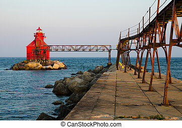 Sturgeon Bay Ship Canal Pierhead Lighthouse, Wisconsin, USA...
