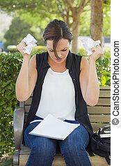Upset Young Woman with Pencil and Crumpled Paper in Hands -...