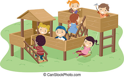 Stickman Kids Playing in the Park - Illustration of Stickman